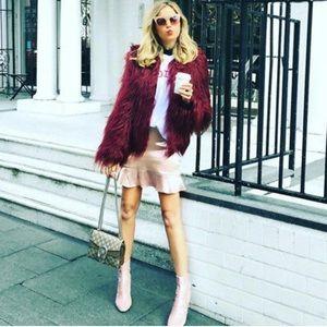 Jackets & Blazers - Burgundy faux fur coat